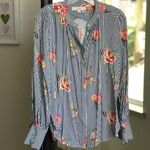 Floral and Stripe Blouse